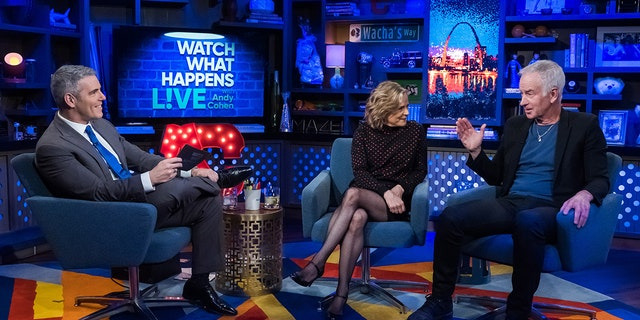 "Tennis legend John McEnroe, right, told Andy Cohen, left, and fellow ""WWHL"" guest Amy Sedaris that former father-in-law Ryan O'Neal is a 'particularly heinous individual.'"