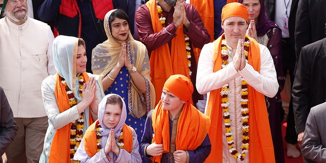 Canadian Prime Minister Justin Trudeau with his wife Sophie Gregoire, daughter Ella Grace and son Xavier, during their visit to the holy Sikh shrine of Golden temple in Amritsar, India, in 2018.