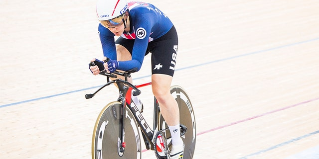 Kelly Catlin pictured here competing in the Women's Individual Pursuit Finals during 2017 UCI World Cycling in April 2017 in Hong Kong.