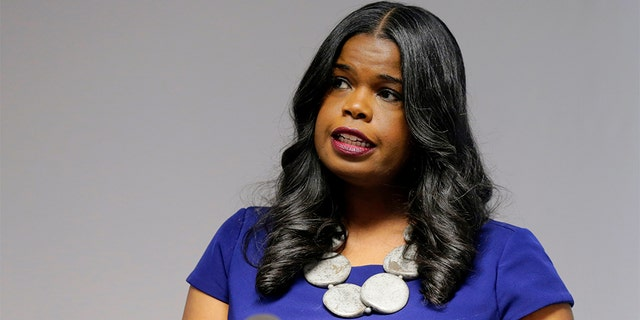 Cook County State's Attorney Kim Foxx speaking at a news conference in Chicago.