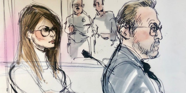 Lori Loughlin, left, appears in this court sketch at the U.S. federal courthouse in downtown Los Angeles, Calif. on March 13, 2019.