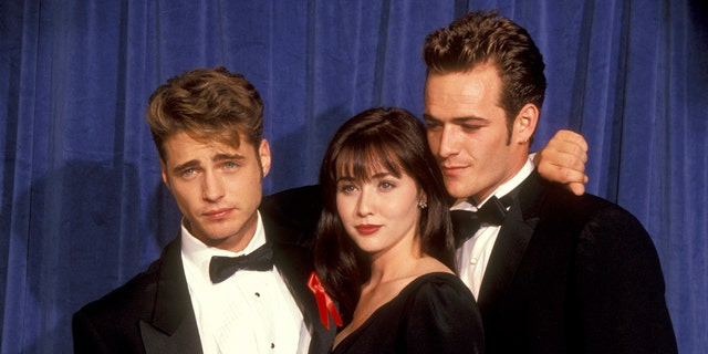 Jason Priestley, Shannen Doherty and Luke Perry at the 43rd Annual Primetime Emmy Awards in 1991