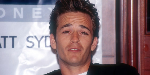 Luke Perry at a press conference in the 1990s in Sydney, Australia, at the height of his '90210' fame.