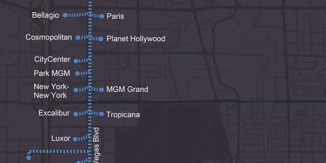 Map of potential tunnel expansion that would connect the Las Vegas strip.