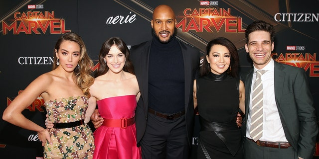 """(L-R) Actors Chloe Bennet, Elizabeth Henstridge, Henry Simmons, Ming-Na Wen and Jeff Ward attend the Los Angeles World Premiere of Marvel Studios' """"Captain Marvel"""" at Dolby Theatre on March 4, 2019 in Hollywood, Calif."""