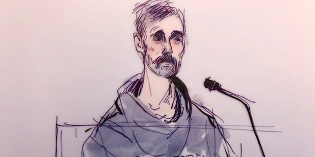 Actor Lori Loughlin's husband, fashion designer Mossimo Giannulli, appears in this court sketch at an initial hearing for defendants in a racketeering case involving the allegedly fraudulent admission of children to elite universities, at the a federal courthouse in downtown Los Angeles, Calif., March 12, 2019. REUTERS/Mona Edwards
