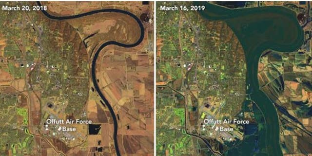 The above images, courtesy of NASA, show the extent of flooding on the Platte, Missouri, and Elkhorn Rivers, at right. The image at left shows the same area in March 2018.