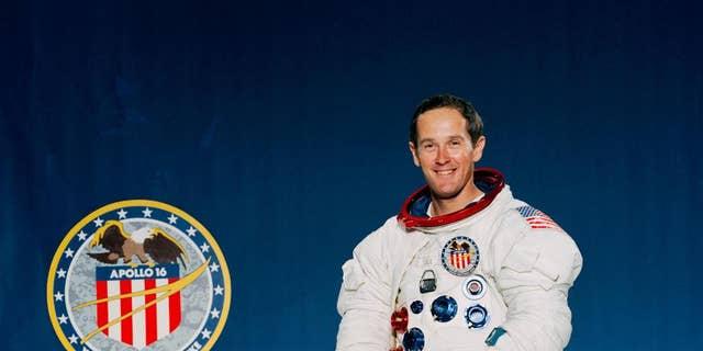 A mural of Apollo 16 wanderer Charles Duke. (NASA)