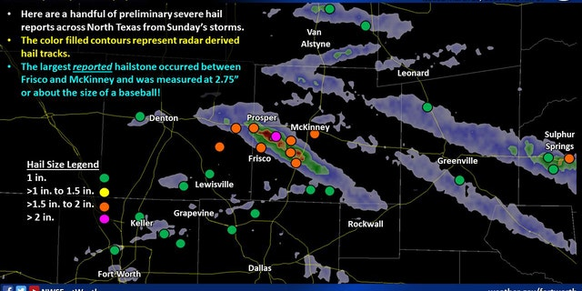Hail reports from North Texas after severe thunderstorms rolled through the area on Sunday.
