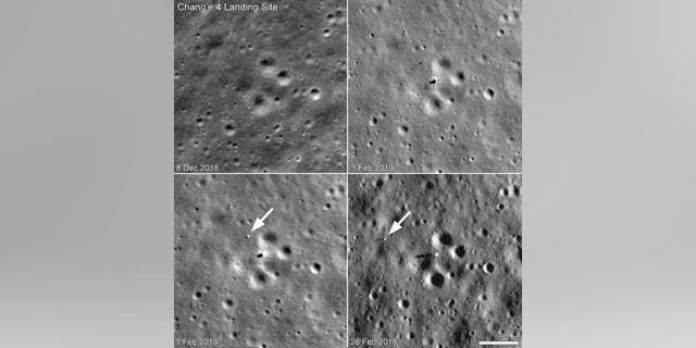 China's Chang'e 4 rover, called Yutu 2, moved between Feb. 1 and Feb. 28, 2019. The upper left panel shows the landing site before Chang'e 4's Jan. 2 touchdown; the upper right panel is the best-resolution photo of the lander and rover taken so far. The lower left image was taken six hours later. The most recent view, in the lower right, shows that Yutu 2 traversed 150 feet (46 meters) to the west during the month of February.