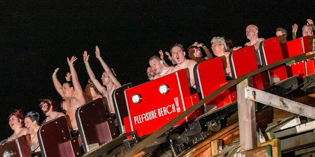 A total of 195 naked people rode the famous Grand National rollercoaster at Blackpool's Pleasure Beach on Saturday.