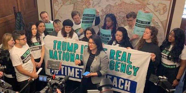 Rep. Rashida Tlaib joined protesters with CREDO Action and By the People, a new advocacy group pushing for the impeachment of President Trump. Together they urged members of Congress to begin impeachment proceedings. (Congresswoman Rashida Tlaib)