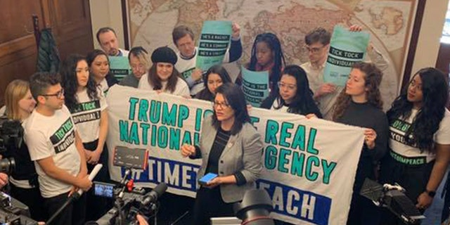 Rep. RashidaTlaib joined protesters with CREDO Action and By the People, a new advocacy group pushing for the impeachment of President Trump. Together they urged members of Congress to begin impeachment proceedings.