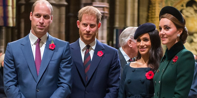 Prince William, Duke of Cambridge and Catherine, Duchess of Cambridge, Prince Harry, Duke of Sussex and Meghan, Duchess of Sussex attend a service marking the centenary of WW1 armistice at Westminster Abbey on Nov. 11, 2018 in London.