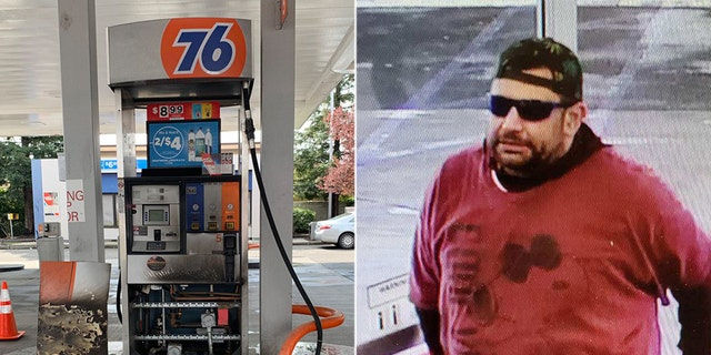 A man bought a gallon of gas before spilling it near a pump and lighting it on fire at a gas station in Sacramento, Calif. on Saturday, according to officials.