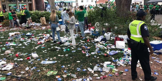 The aftermath of St. Patrick's Day celebrations in Savannah's Wright Square.