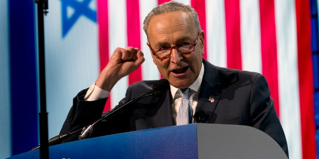 Senate Minority Leader Chuck Schumer, D-N.Y., speaking at the 2019 American Israel Public Affairs Committee (AIPAC) policy conference in Washington Monday night. (AP Photo/Jose Luis Magana)