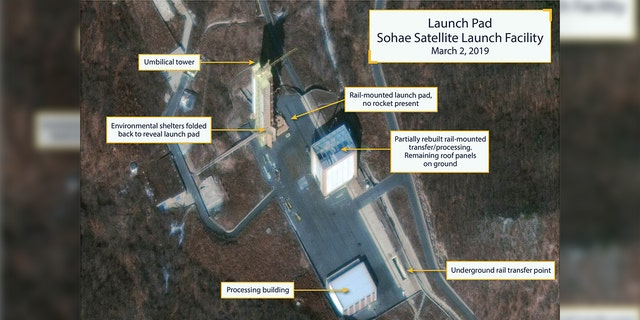 The Sohae Satellite Launching Station launch pad features what researchers of Beyond Parallel, a CSIS project, describe as showing the partially rebuilt rail-mounted rocket transfer structure in a commercial satellite image taken over Tongchang-ri, North Korea on March 2, 2019 and released March 5, 2019.