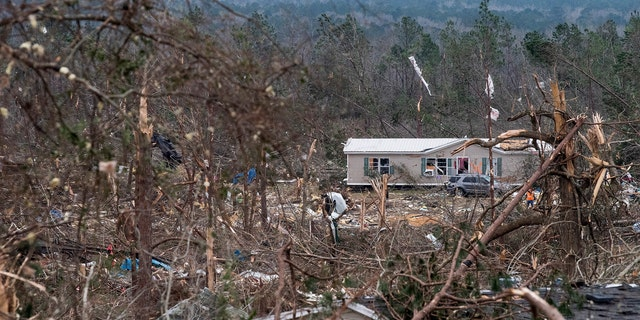 Tornado damage near Beauregard, Ala., on Monday March 4, 2019.