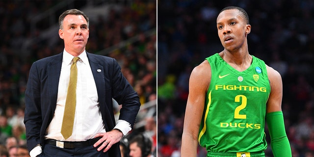 """UC Irvine coach Russell Turner (left) is under fire for calling Oregon Ducks forwardLouis King (right) a """"Queen"""" during a game Sunday."""