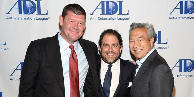 RatPac Entertainment's James Packer and Brett Ratner, and Warner Bros. Entertainment CEO Kevin Tsujihara.