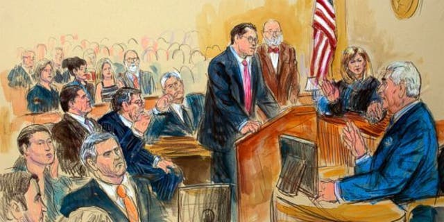 This sketch shows Judge Amy Berman Jackson presiding over the Roger Stone case this year. (The Associated Press)