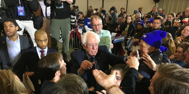 Bernie Sanders campaigning in Concord, N.H., on Sunday.