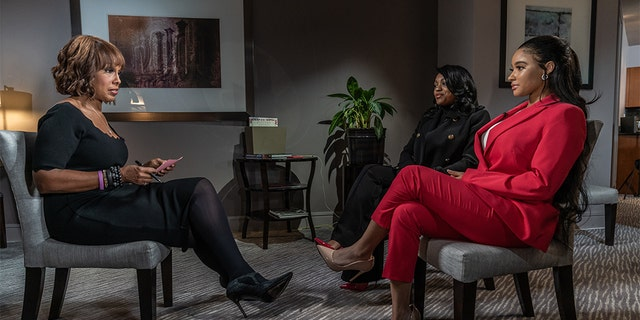 """CBS This Morning"" co-host Gayle King (L) interviews two women -- Azriel Clary (in black) and Jocelyn Savage (in red) who say they are in a relationship with R. Kelly."