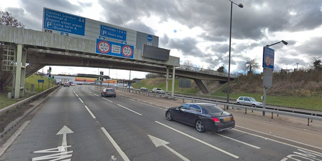 The M4 leads to Heathrow Airport.