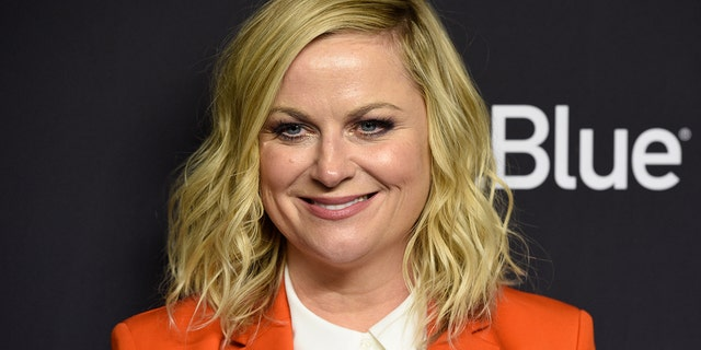 """Amy Poehler arrives at the """"Parks and Recreation"""" 10th-anniversary reunion during the 36th annual PaleyFest on Thursday, March 21, 2019, at the Dolby Theatre in Los Angeles."""