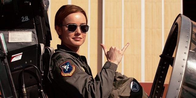 """Brie Larson as Air Force pilot Carol Danvers in """"Captain Marvel"""""""