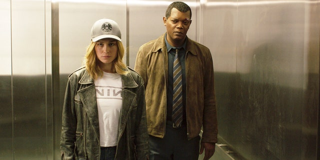 "Brie Larson and Samuel L. Jackson as Carol Danvers and Nick Fury in ""Captain Marvel"""