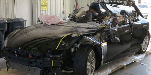 Brown's Tesla Model S had the roof sheared off over the passenger compartment.
