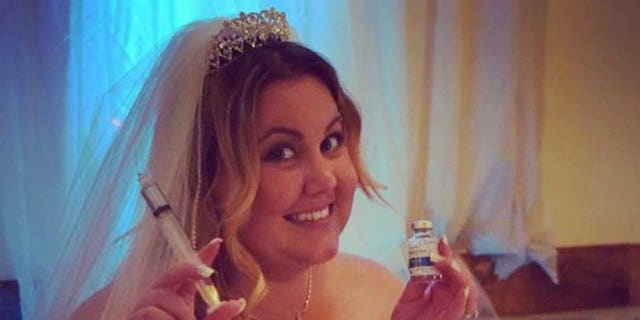 Heil took nausea medication at her reception so she could enjoy her cake.