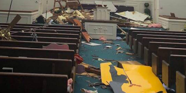 Damage to Mount Zion Church in West Paducah, Ky.