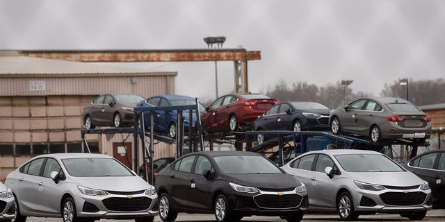 Cars sitting outside the GM Lordstown Plant on November 26, 2018, in Lordstown, Ohio. (Photo by Jeff Swensen/Getty Images, File)