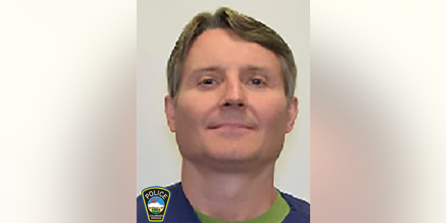 This photo released by the Colorado Springs Police Department on Friday, March 29, 2019 shows James William Hanlon. Authorities said Hanlon, 53, is suspected of killing his neighbor in Colorado Springs, Colo., and the incident was recorded by the victim's cell phone. (Colorado Springs Police Department via AP)