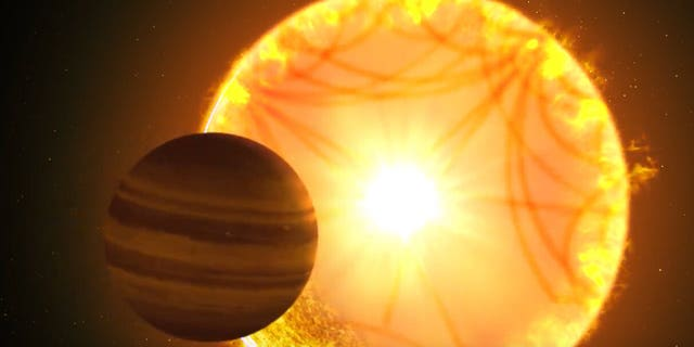 An illustration shows the gas giant orbiting close to a star will starquakes similar to those found in our own sun.