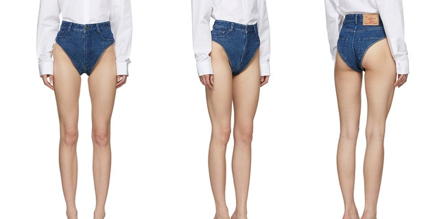 One Parisian fashion brand is being mercilessly mocked on social media for selling a pair of high-cut denim panties that leave nothing to the imagination.