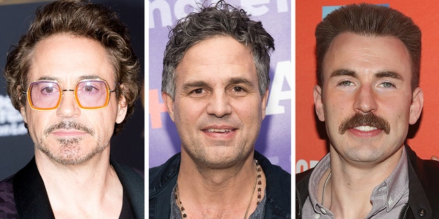 "Robert Downey Jr.,left, waged a battle of looks against his ""Avengers"" co-stars Mark Ruffalo, center, and Chris Evans, right."
