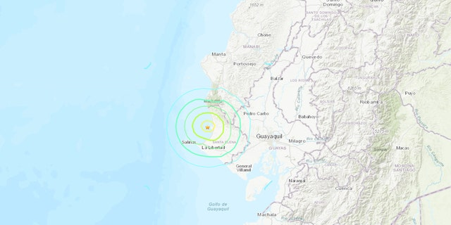 The 6.2 magnitude earthquake was reported about 16 miles north of Santa Elena along the coast, according to the USGS.