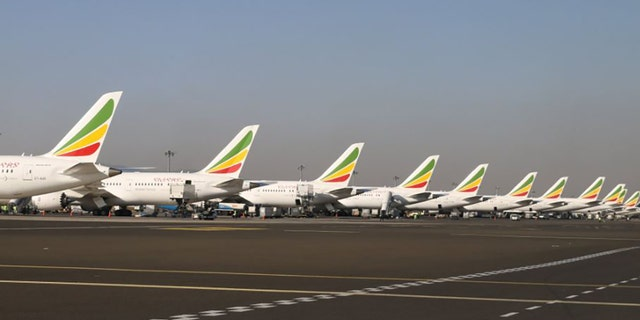 Ethiopian Airlines jets are shown parked at an airport. (Twitter)