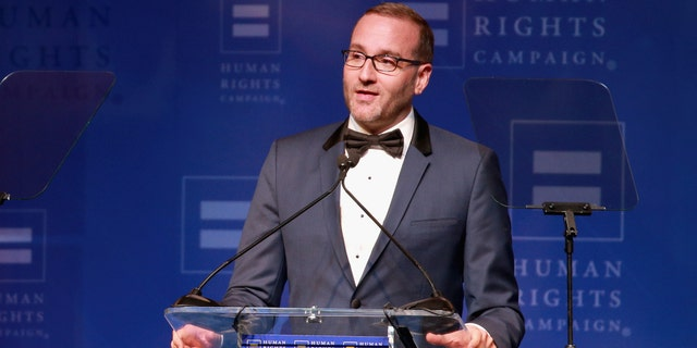 HRC President Chad Griffin speaks onstage at The Human Rights Campaign 2018 Los Angeles Gala Dinner at JW Marriott Los Angeles at L.A. LIVE on March 10, 2018, in Los Angeles. (Photo by Rich Fury/Getty Images for Human Rights Campaign)