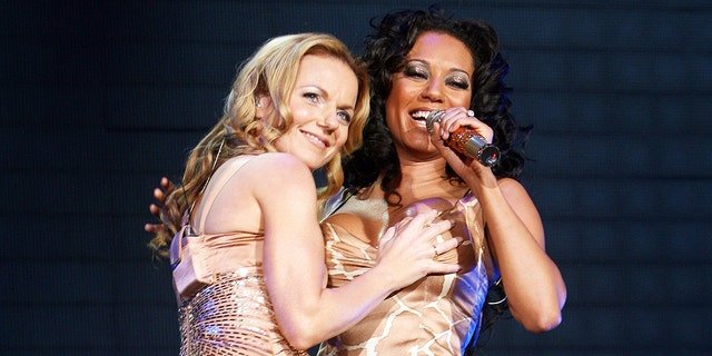 Geri Halliwell and Mel B (Ginger Spice and Scary Spice) of the Spice Girls