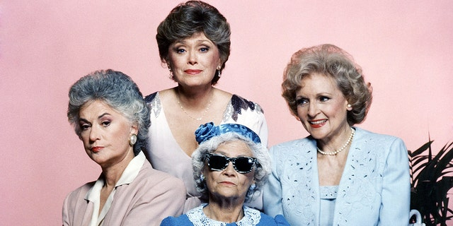 "Bea Arthur as Dorothy Zbornak, Rue McClanahan as Blanche Devereaux, Betty White as Rose Nylund and Estelle Getty as Sophia Petrillo in Season 1 of ""The Golden Girls"""