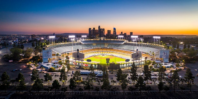Dodger Stadium on the eve of the 2017 Major League Baseball World Series.