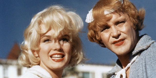"Marilyn Monroe, left, and Jack Lemmon on the set of ""Some like It Hot."""