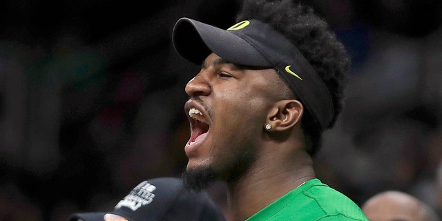 Golden State Warriors forward Jordan Bell yells during the second half of a first-round game in the NCAA men's college basketball tournament between Wisconsin and Oregon Friday, March 22, 2019, in San Jose, Calif. (AP Photo/Ben Margot)