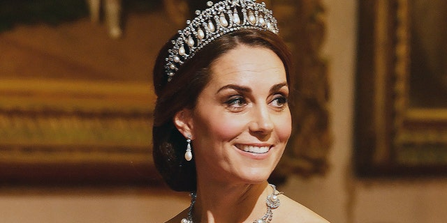 Kate Middleton at a state banquet in honor of King Willem-Alexander and Queen Maxima of the Netherlands in October 2018