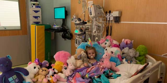 "Xydias said her daughter finds comfort in her stuffed animals, especially when she is trying to hide ""from anyone in scrubs."""